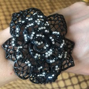 Jewelry - Black filigree open rose metal  bracelet